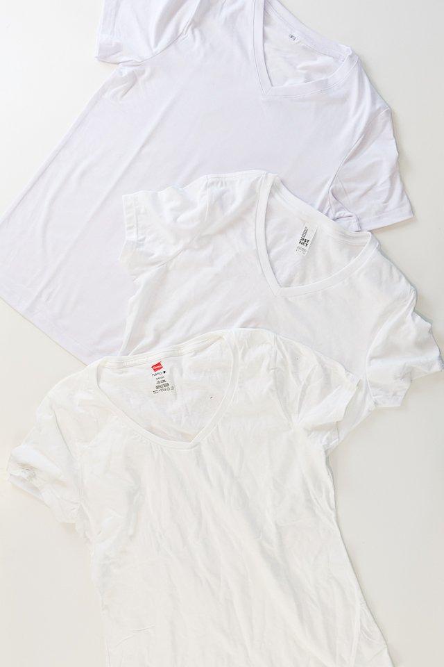 three blank t-shirts