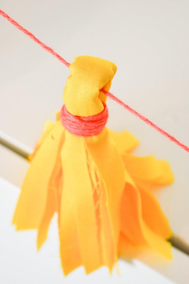 diy fabric tassel garland