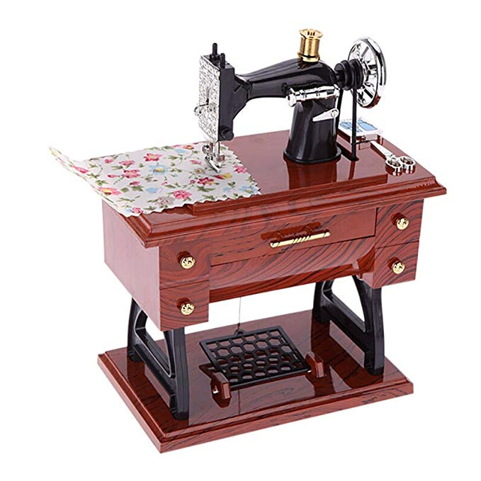 Sewing Machine Music Box with Drawer