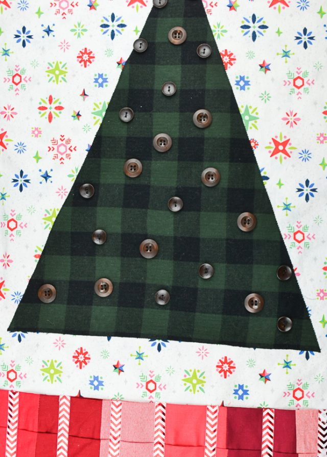 sew buttons on tree