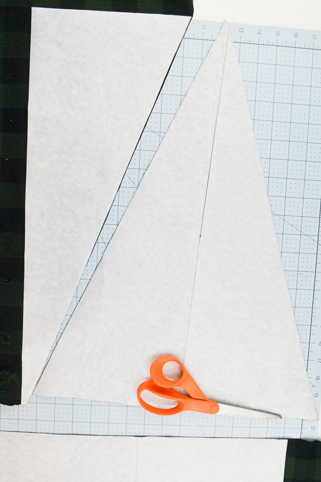 apply adhesive and cut into triangle