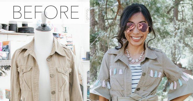 Tasseled Khaki Jacket DIY Refashion