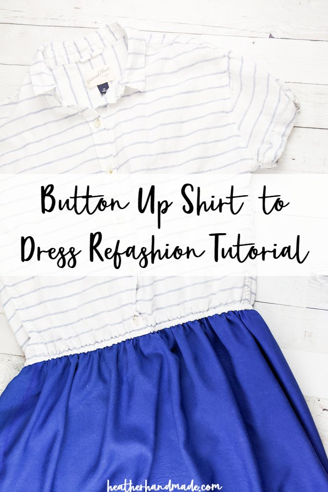 button up shirt to dress refashion