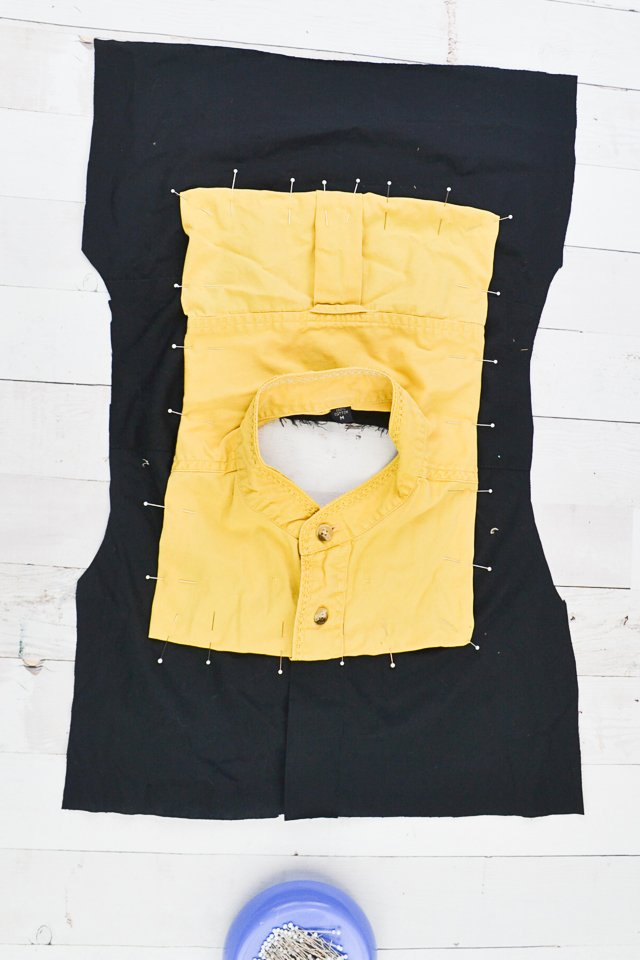 pin yellow neckline to black bodice