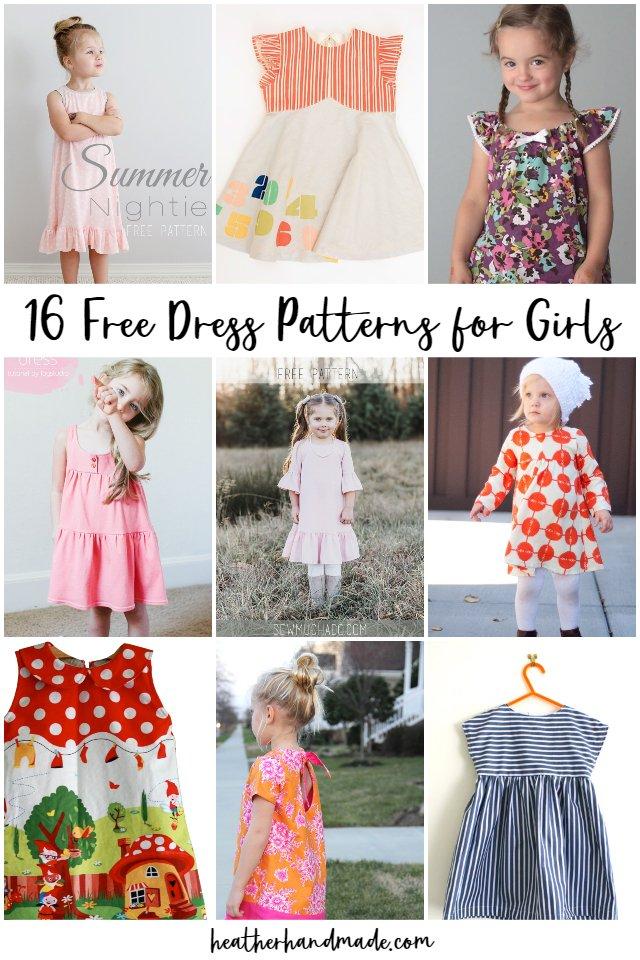 16 Free Dress Patterns for Girls
