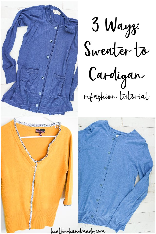 3 Ways to Turn a Sweater to Cardigan Refashion Tutorial