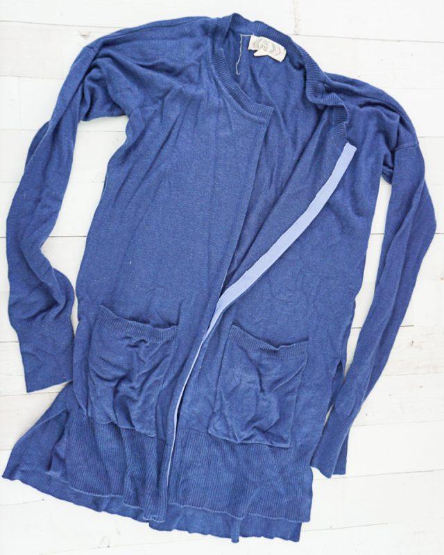 sweater to cardigan refashion
