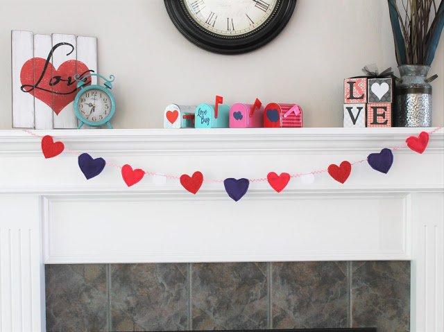 Easy Felt Heart Garland Template + No Sew Option