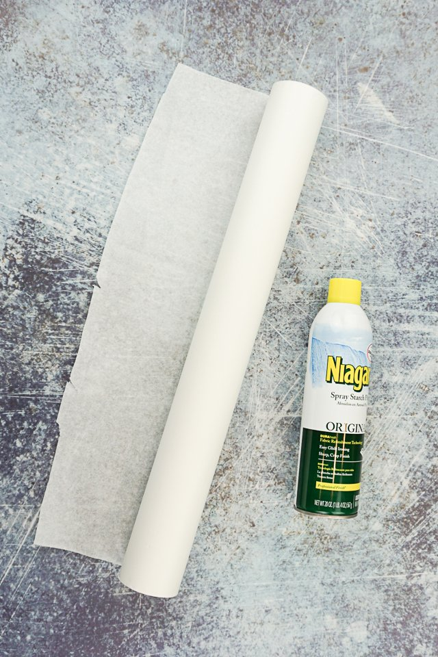 tissue paper and spray starch