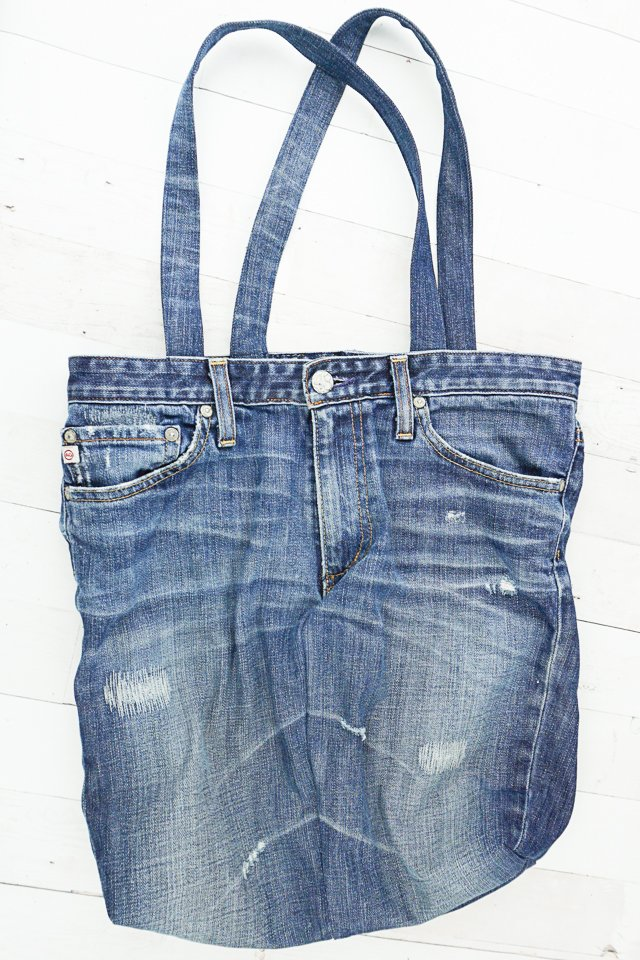 how to upcycle jeans into a tote bag