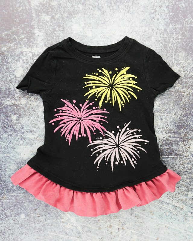 diy firework t-shirt with ruffle