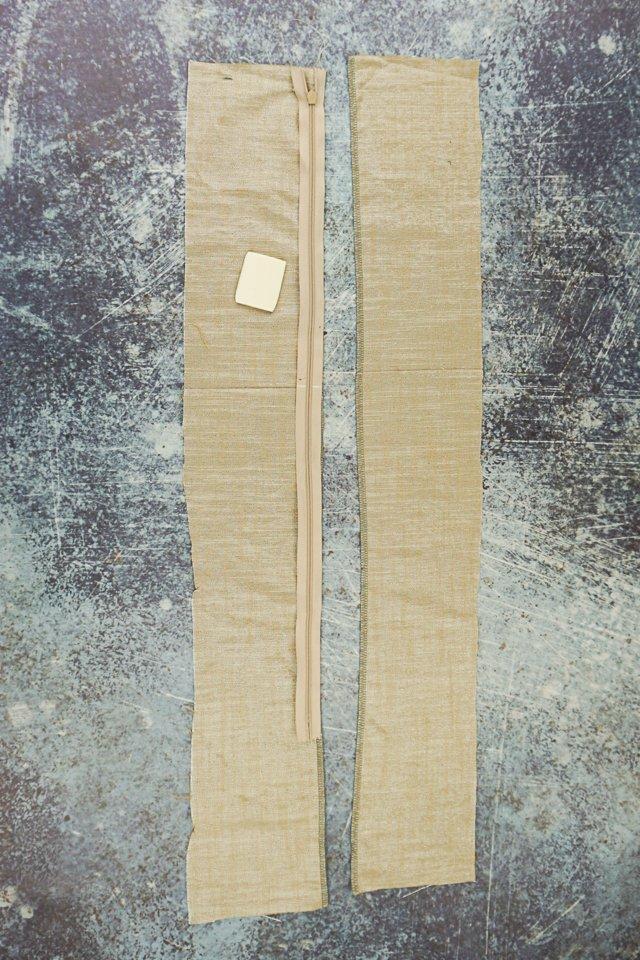 close zipper and mark seam that crosses zipper
