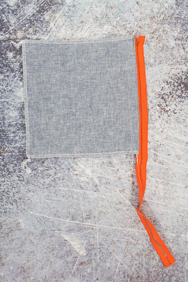 topstitch fabric away from zipper