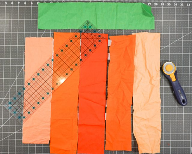 Cut pieces of fabric 4 by 18