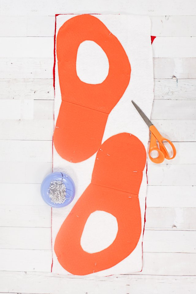 layer orange felt, batting, and interfaced felt
