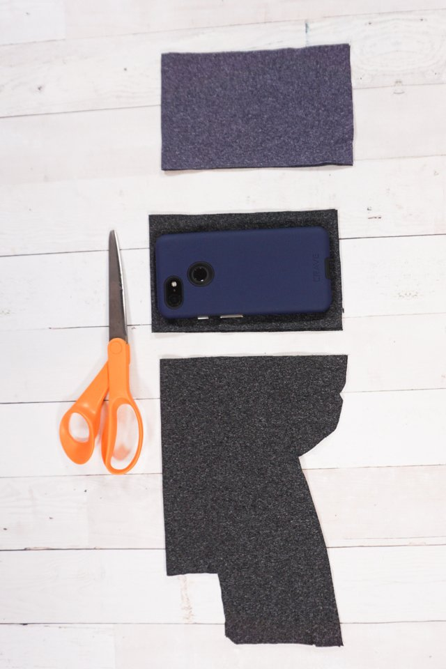 cut fabric to size of phone