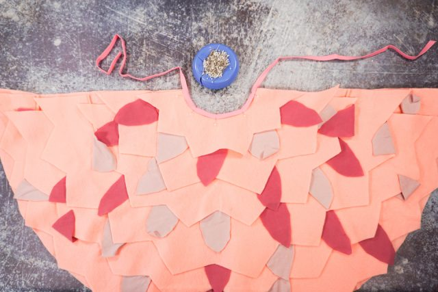 pin and sew bias binding to necklinc of cape