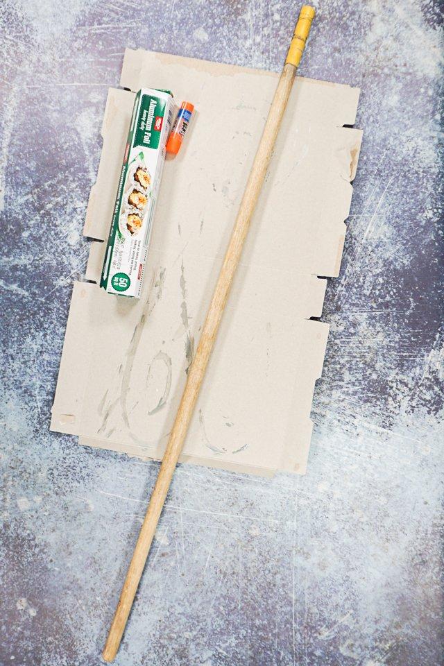 get stick and cardboard