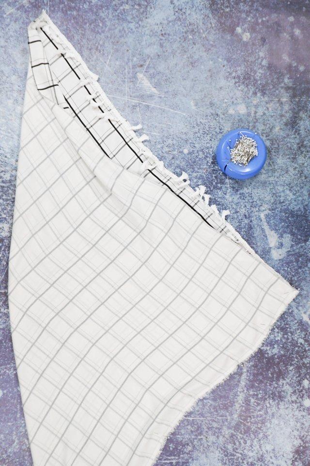 fold from corner to corner, pin, sew