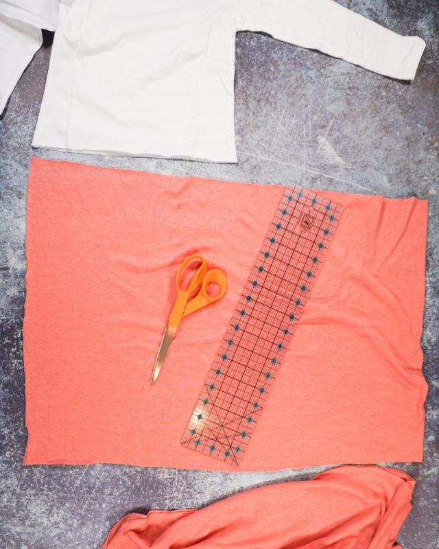 cut out pink rib knit skirt