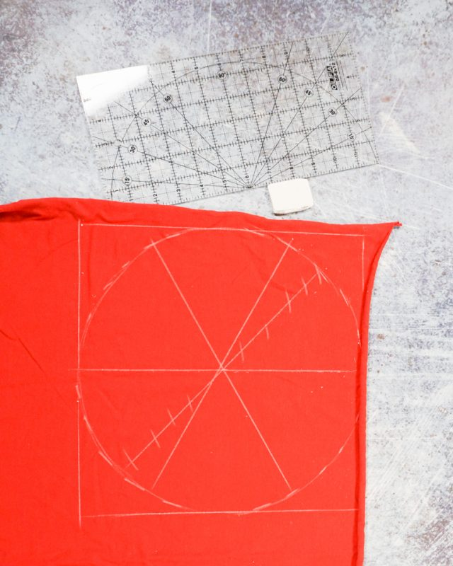 draw a circle on scrap of orange fabric