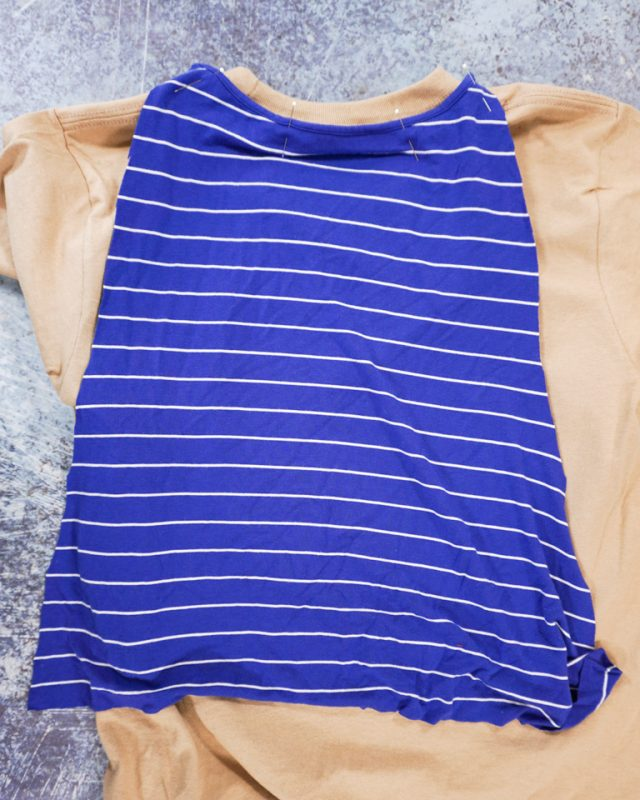 pin to neckline of t-shirt