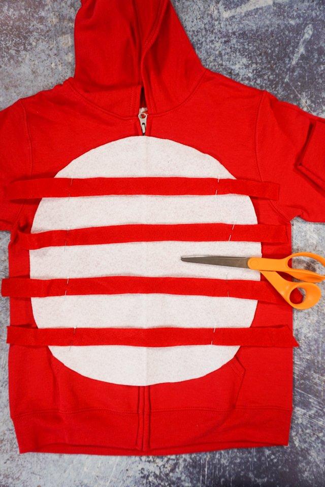 cut red strips of felt