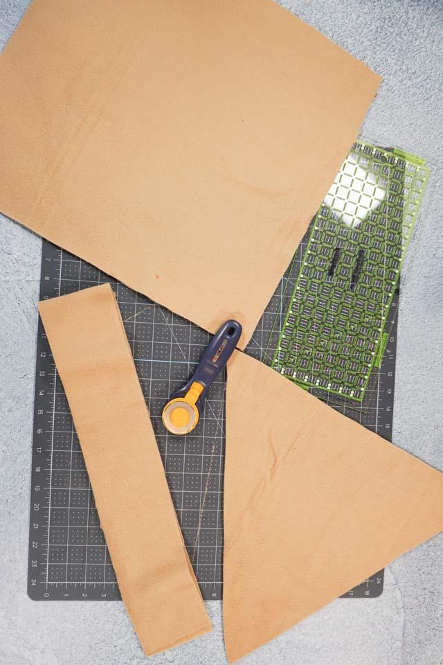 cut tan fabric