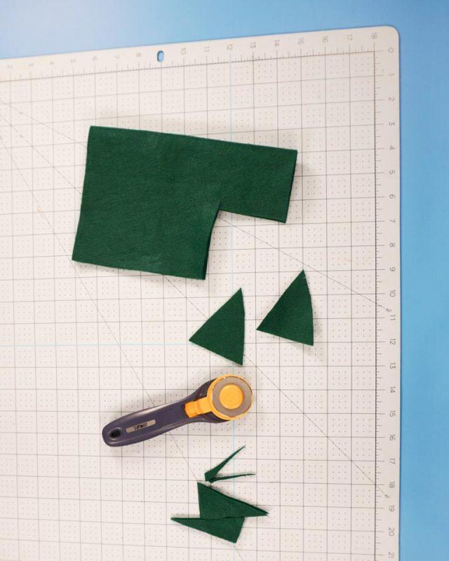 cut two green felt triangles