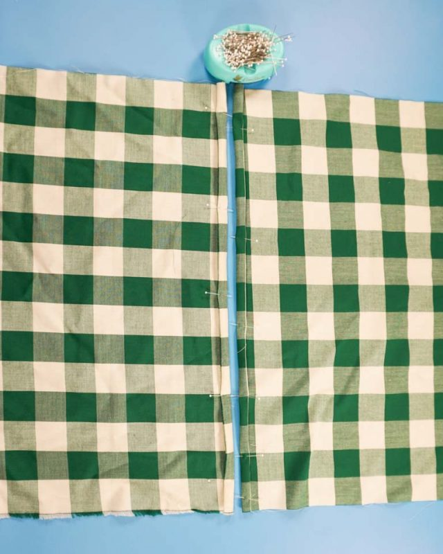 fold hem on rectangles and sew