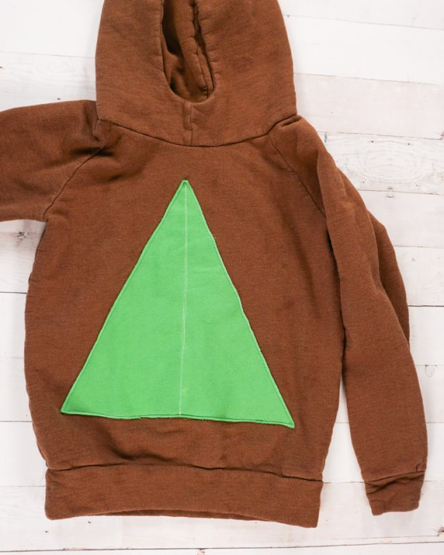 baste triangle to sweatshirt