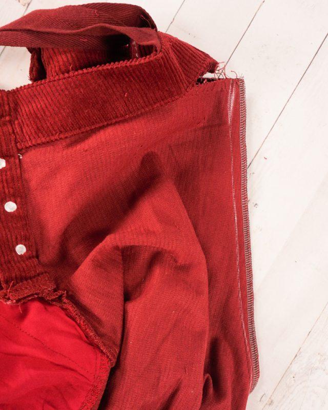 sew new seam, cut, and finish edge
