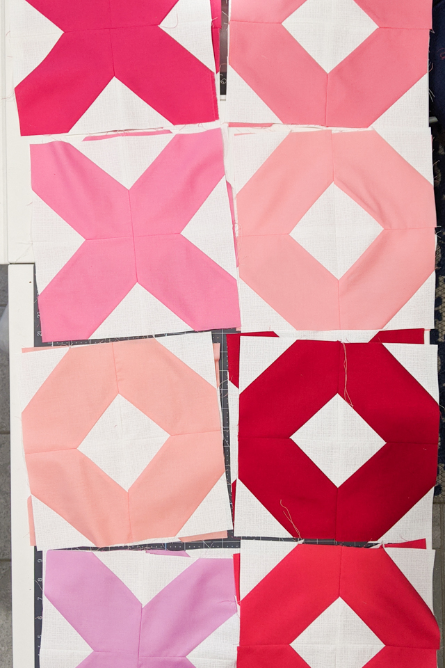 sew blocks together to make x and o