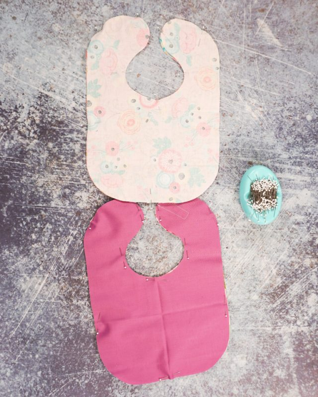pin bib right sides together