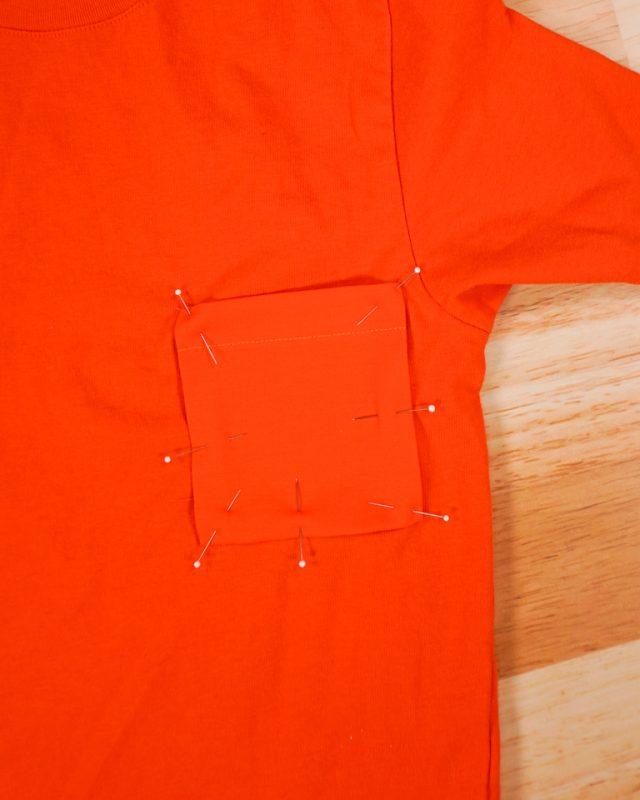 pin onto t-shirt