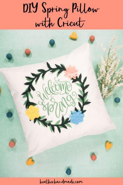 diy spring pillow with cricut