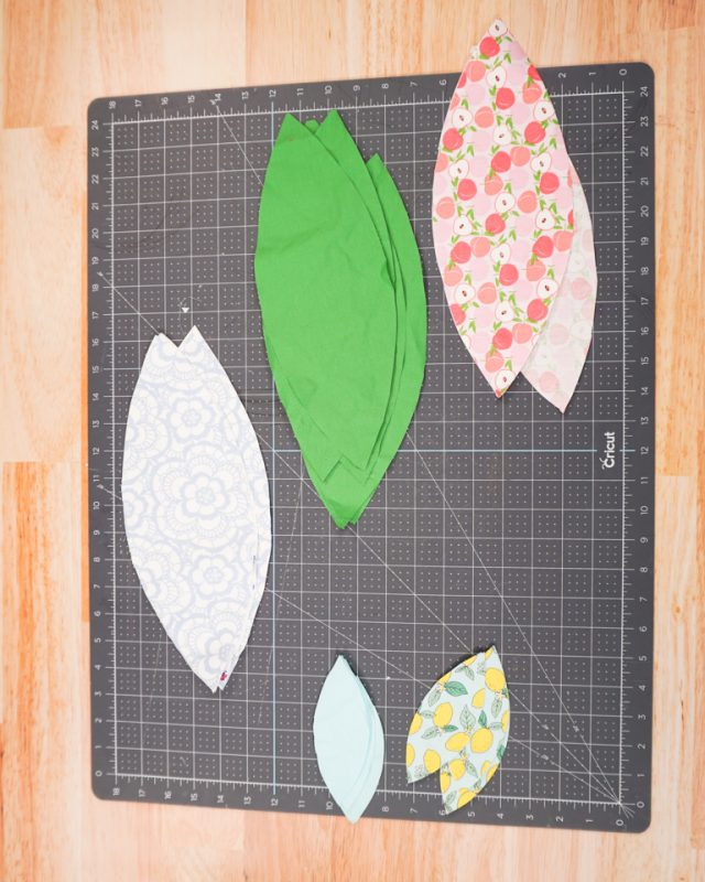 cut out 6 fabric pieces