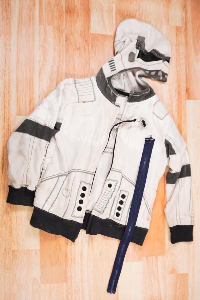 jacket with broken zipper