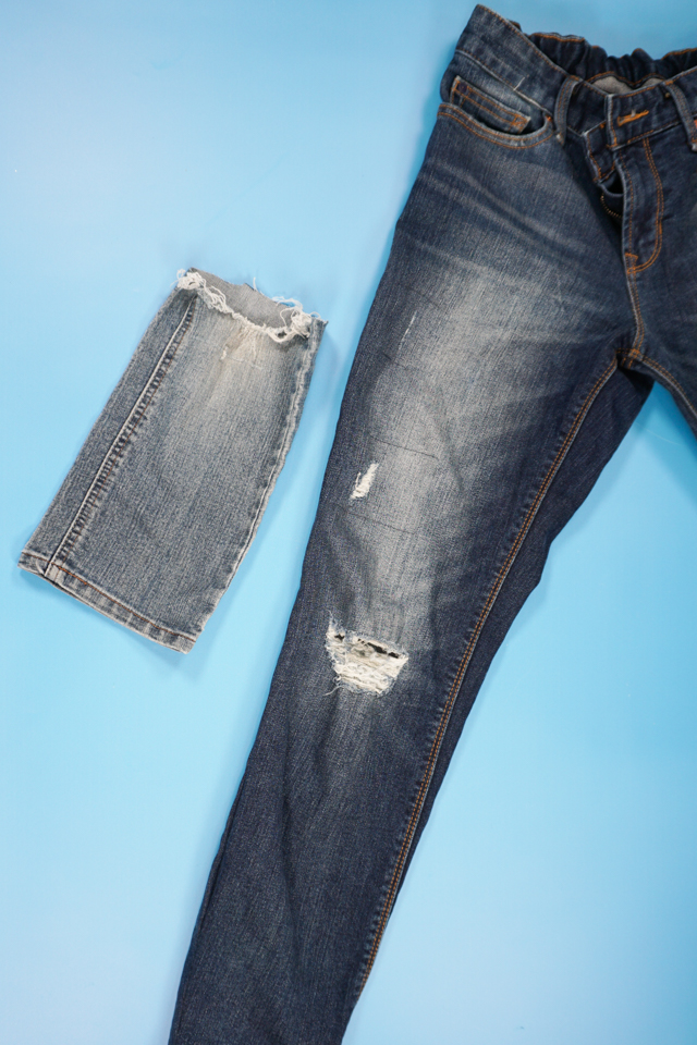 denim jeans with hole and scrap fabric