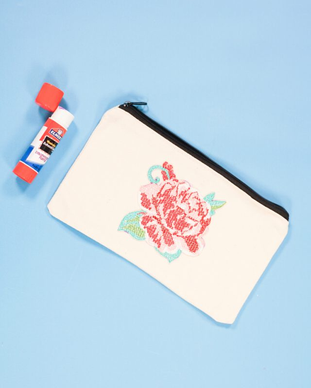 glue patch onto pouch
