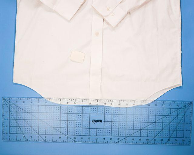 mark a straight line across the bottom