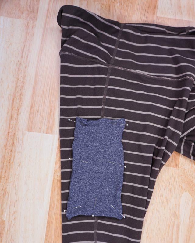 pin pocket to one leg of leggings