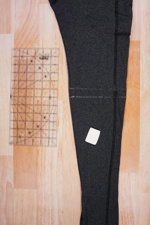 draw hem line and cut line on leggings