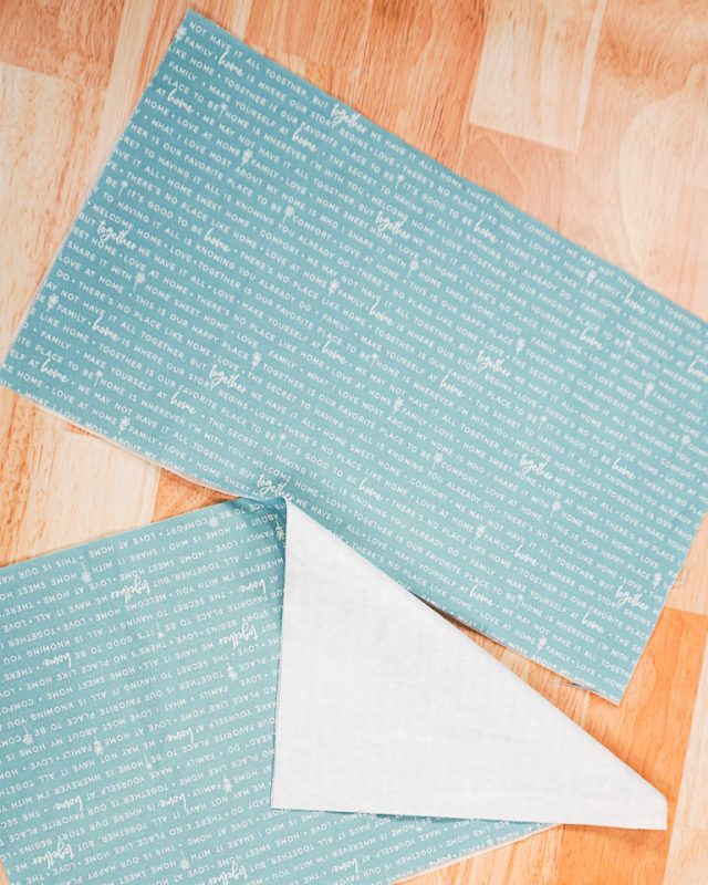 cut fabric into rectangles