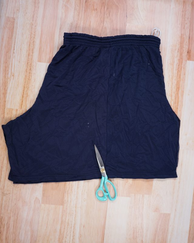 cut inseam of shorts and open flat