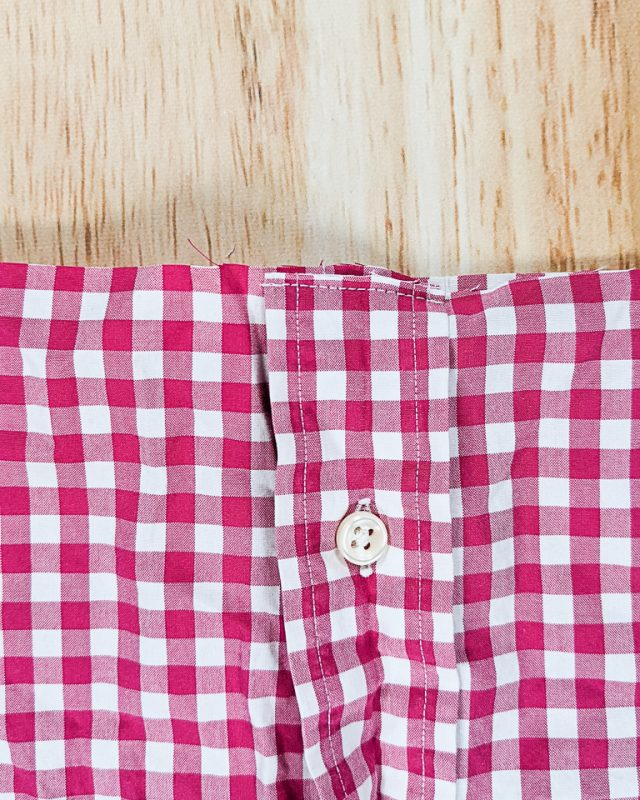 stitch button placket together at cut
