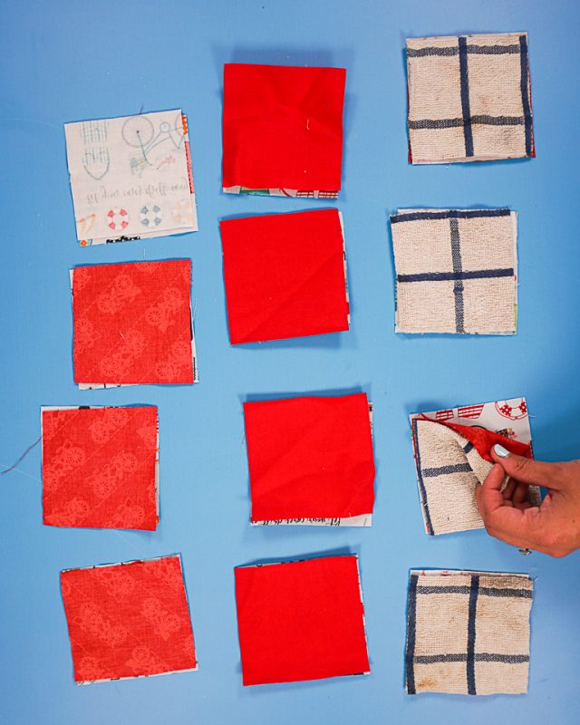 match squares right sides together