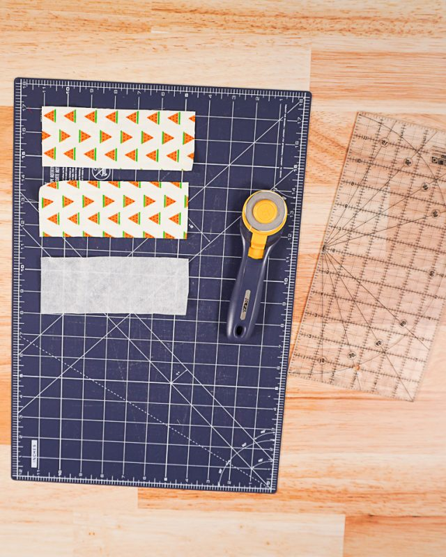cut out 2 fabric rectangles and 1 interfacing