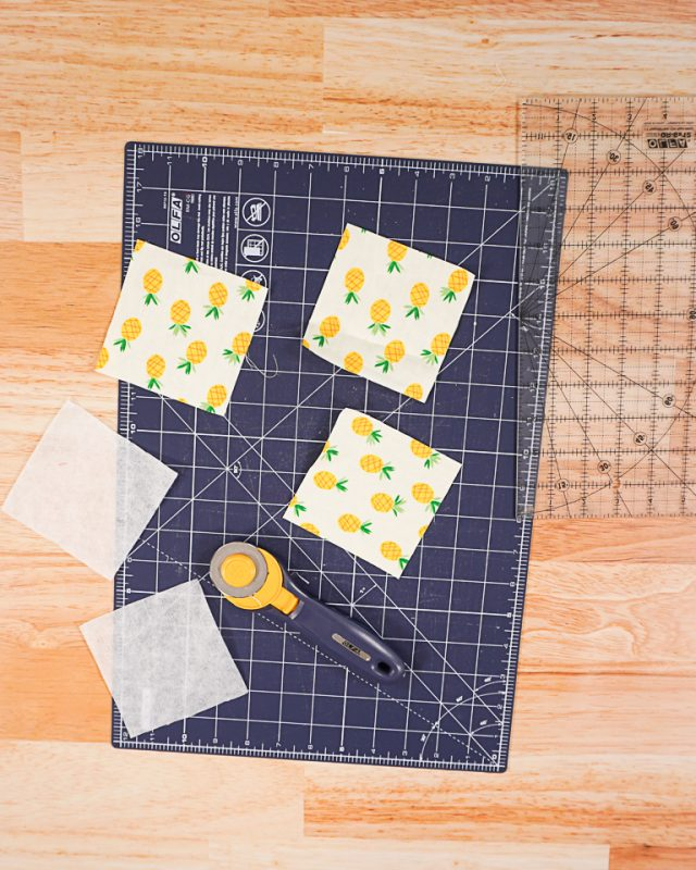 cut out 3 fabric squares and 2 interfacing