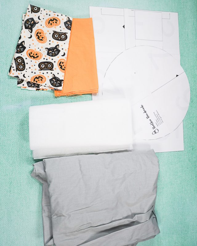 DIY Halloween Fabric Bucket supplies